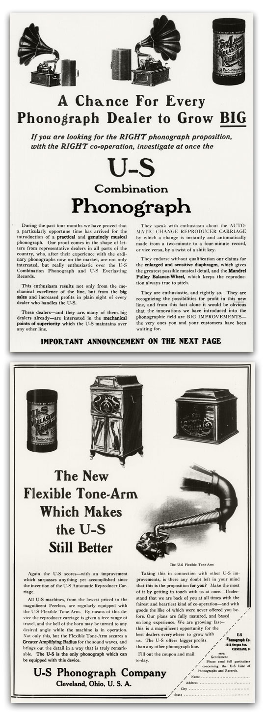 U-S Everlasting phonograph and cylinder ad (1910)